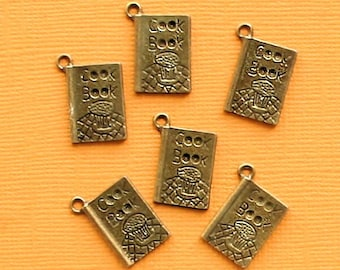 10 Cookbook Charms Charms Antique Bronze Tone Great for Cooks and Chefs - BC598