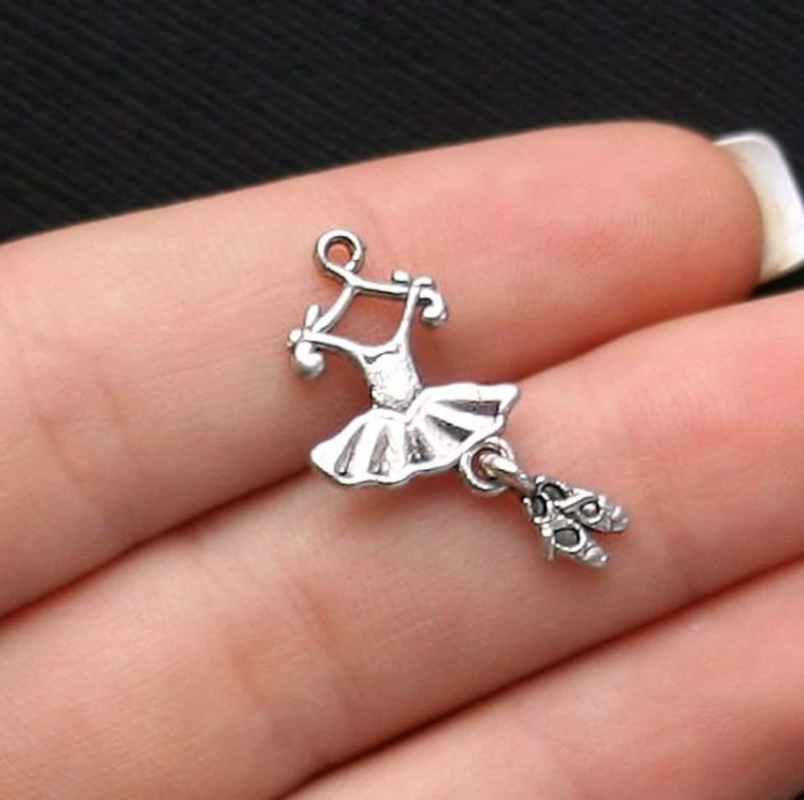 bulk 30 ballet charms antique silver tone 2 sided tutu with dangling toe shoes - sc1076