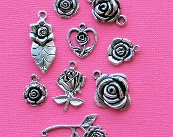 Rose Charm Collection Antique  Silver Tone 9 Different Charms - COL220