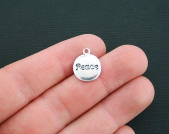 10 Peace Charms Antique Silver Tone 2 Sided Peace Circle Disk- SC1508