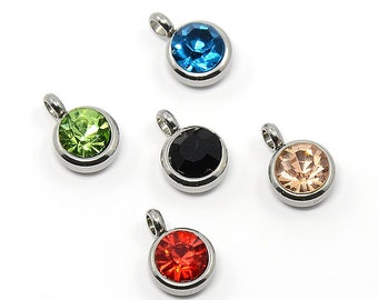 10 Stainless Steel Rhinestone Charm Pendants, Faceted Mixed Colors - FD209