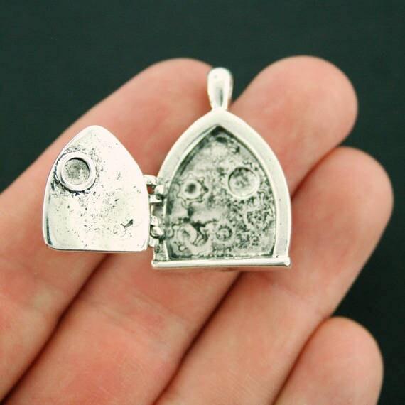 SC7275 Fairy Door Locket Charm Antique Silver Tone Adorable