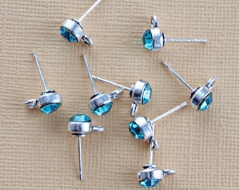 5 Pairs Earring Posts with Sky Blue Rhinestones and Stoppers - FD186