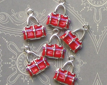 5 Purse Charms Silver Plated Enamel 3D Absolutely Adorable E021