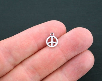 15 Peace Charms Antique Silver Tone 2 Sided Peace Sign Charm - SC2957