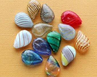 4 Glass Blown Beads Teardrop Assorted Color Glass -  BD844
