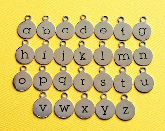4 Stainless Steel Letter Charms - Choose Your Initial - Lowercase Alphabet - ALPHA1400BFS-IND