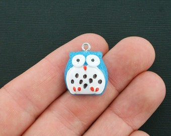 5 Owl Charms Resin Fun and Colorful Blue Owl E185