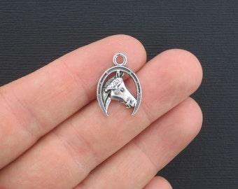 8 Horse Charms Antique Silver Tone Horseshoe Charm - SC2700