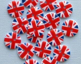 15 UK Flag Buttons British Union Jack Pattern BUT078