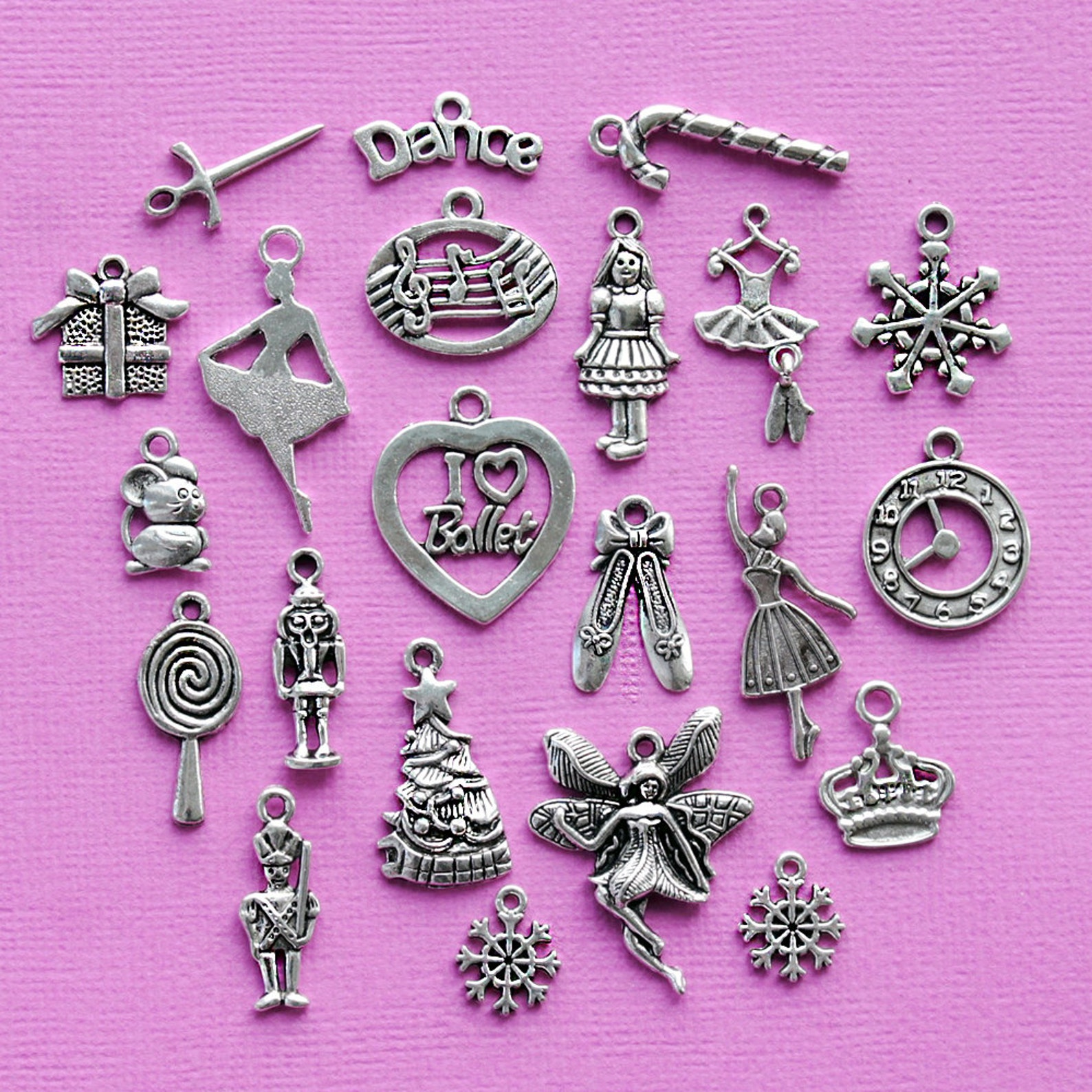 the nutcracker ballet deluxe charm collection 22 charms antique silver tone - col323