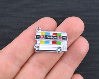 London Double Decker Bus Charms Silver Plated Enamel  - E143