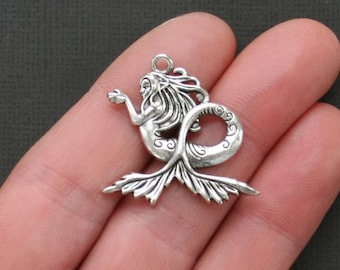 4 Mermaid Charms Antique  Silver Tone Gorgeous Detail - SC1754