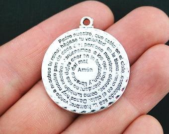 Lords Prayer Charms Antique Silver Tone Padre Nuestro Spanish Prayer - SC3719