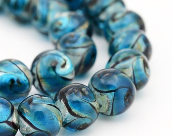 10 Lampwork 10mm Glass Beads Absolutely Stunning - BD958