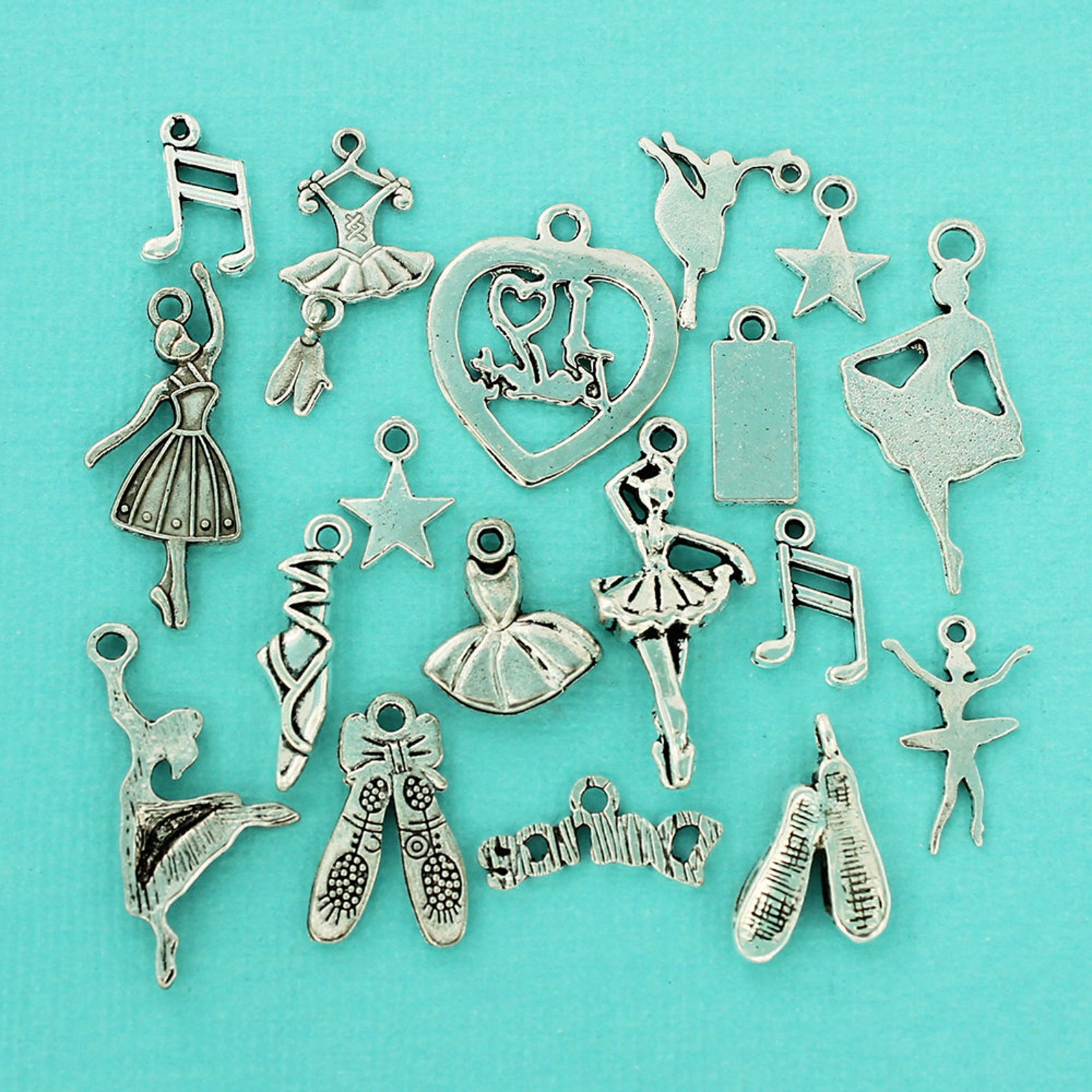 the ultimate ballet charm collection antique silver tone 18 different charms - col182