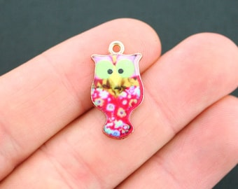 5 Owl Charms Goldplated Pink and Flowers Enamel Fun and Colorful E149