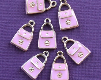5 Purse Charms Silver Plated Enamel Absolutely Adorable - E041