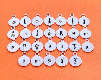 4 Stainless Steel Letter Charms - Choose Your Initial - Lowercase Cursive Script Alphabet - ALPHA1600BFS-IND