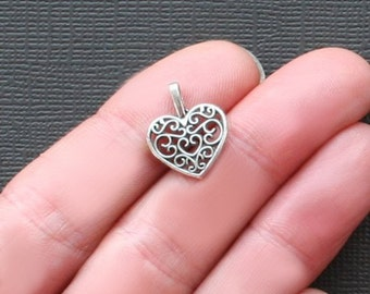 12 Hearts Charms Antique  Silver Tone - SC2209