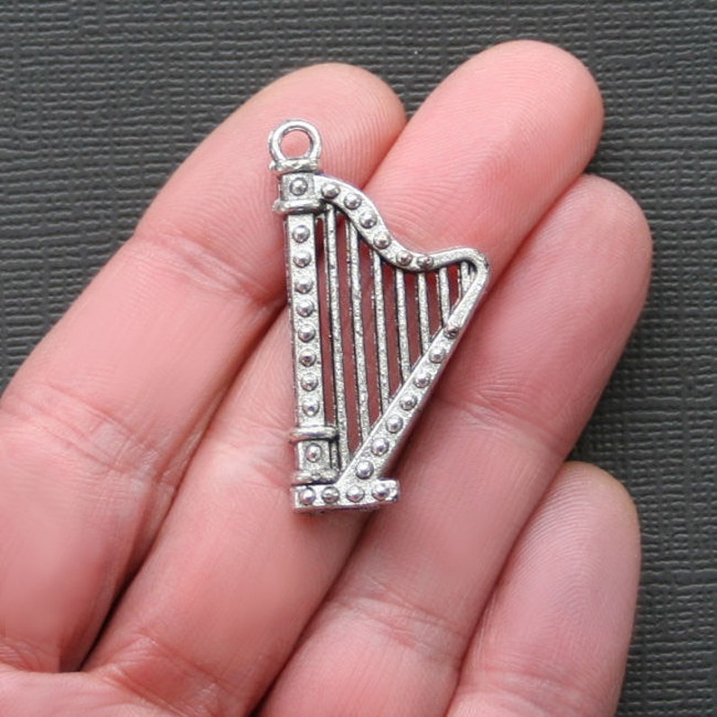 2 Harp Charms Antique Silver Tone 2 Sided Music Charm SC2146