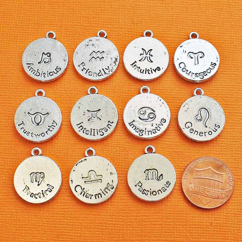 BC1274 Zodiac Charms Antique Bronze Tone Set of 12 Double Sided Bronze Tone