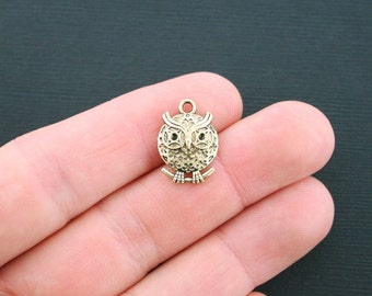 6 Round Owl Charms Antique Gold Tone 2 sided- GC432