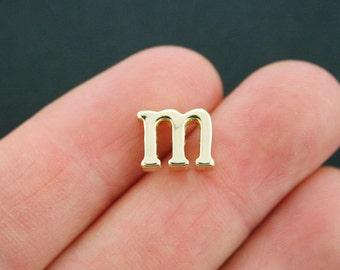 4 Letter M Charms Antique Gold Tone Lowercase Alphabet Initial m - GC677