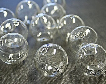 "4 Clear Glass Hand Blown 25mm (1"") Beads  BD425"