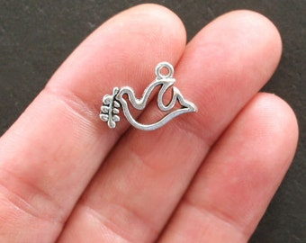 8 Peace Dove Charms Antique  Silver Tone Two Sided Simple Elegance - SC1516