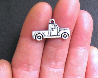 8 Truck Charms Antique  Silver Tone - SC541