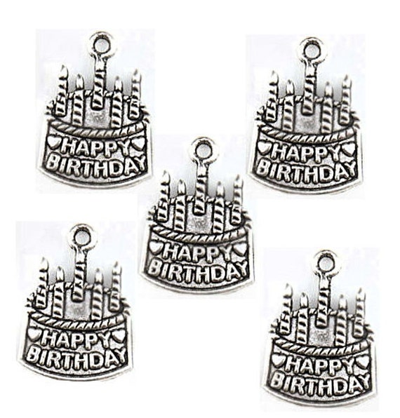 4699acbe0 BULK 30 Birthday Charms Antique Silver Tone Cake with Candles | Etsy