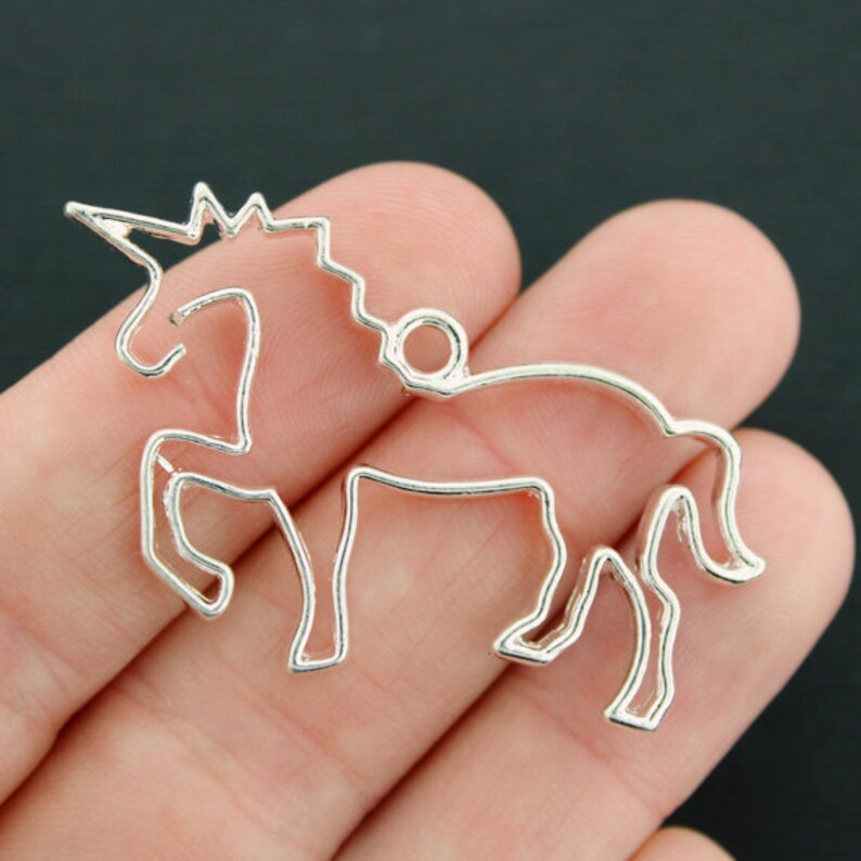 8 Unicorn Charms Antique Silver Tone 2 Sided Just Beautiful SC1426