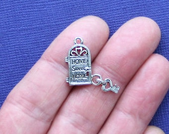 6 Front Door Charms Antique Silver Tone 2 Sided Home Sweet Home - SC991 & Door charm | Etsy