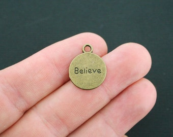 12 Believe Inspire Charms Antique Bronze Tone 2 Sided - BC920