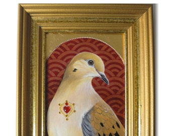 COLLARED DOVES pigeons birds printed watercolour design greetings card by York animal artist birthday love anniversary wedding