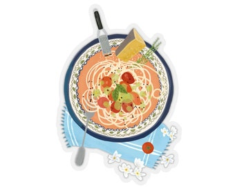 Spaghetti Plate ILLUSTRATED FOOD Kiss-Cut STICKERS