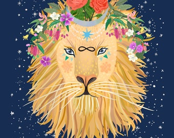 KING LION hand painted illustration LEO zodiac self printable art, 3 sizes