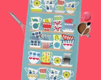 Scandinavian Cups Collection  Tea Towel