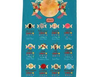 Moon Calendar of 2022 cotton Tea Towel Pegan Holidays Lunar Phases