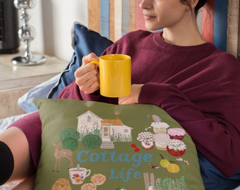 Cottage life illustrated Faux Suede Square Pillow