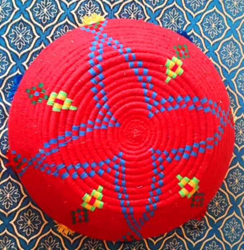 2a92c0b6044 Panier de tribal art-bobine rouge Vintage Amazigh berbère
