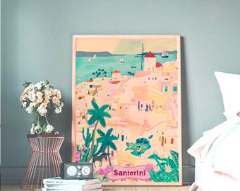 Santorini Island  Illustration Premium Matte vertical Poster Orint