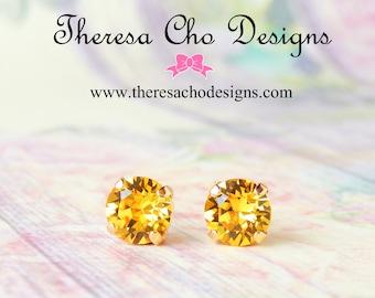 Swarovski Yellow Crystal Studs, Sunflower Yellow Crystal Studs Earrings, Swarovski Sunflower Yellow Studs, Swarovski Round Crystal Studs