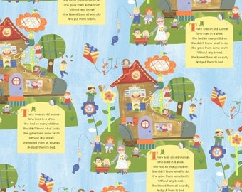 Nursery fabric, Mother Goose, Nursery Rhyme Fabric, Jill McDonald, Windham Fabrics, Old Lady in the Shoe, Mother Goose Tales, One Yard