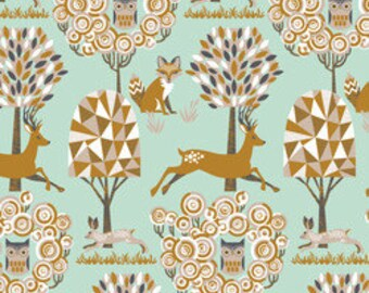 Deer Fabric Blend Fabrics Josephine Kimberling Natural Wonder Fabric Enchanted Forest in Blue One Yard