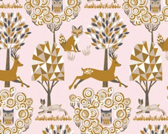 Deer Fabric in Pink Blend Fabrics Josephine Kimberling Natural Wonder Fabric Enchanted Forest in Pink