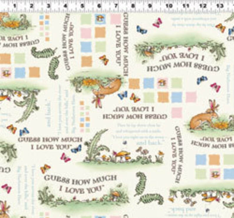 Rabbit Bunny Fabric Guess How Much I Love You Nutbrown Hare Pictorial Light Cream Anita Jeram Half Yard