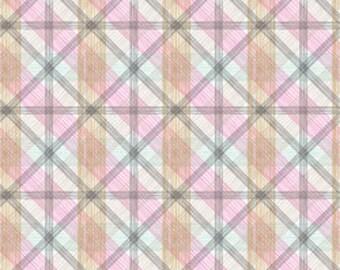 Pink Plaid Fabric Blend Fabrics Josephine Kimberling Linear Natural Wonder Fabric One Yard
