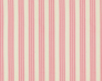 Fabric by the Yard, Pink Stripe Fabric, Verna Mosquera, Pirouette, Vintage Ticking, Flamingo, 34 Inches